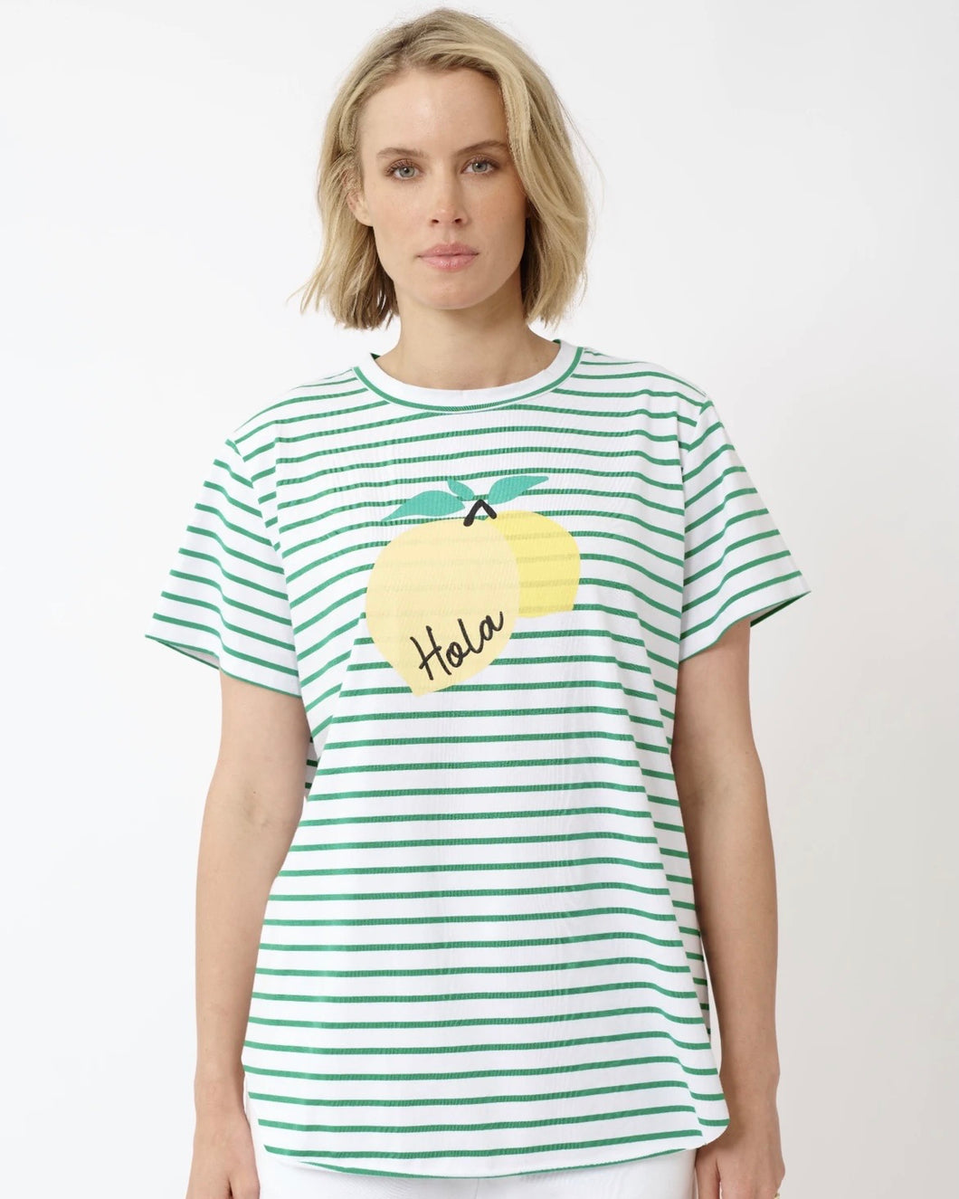 Hola Lemon Tee in White/Emerald by Alessandra