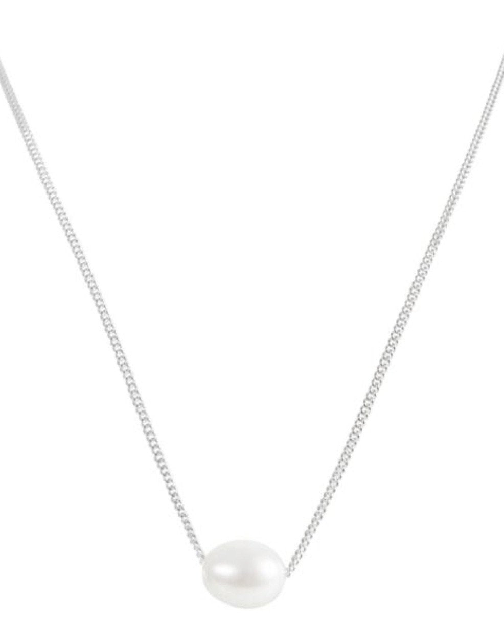 Silver Pearl Teardrop Necklace by Fairley
