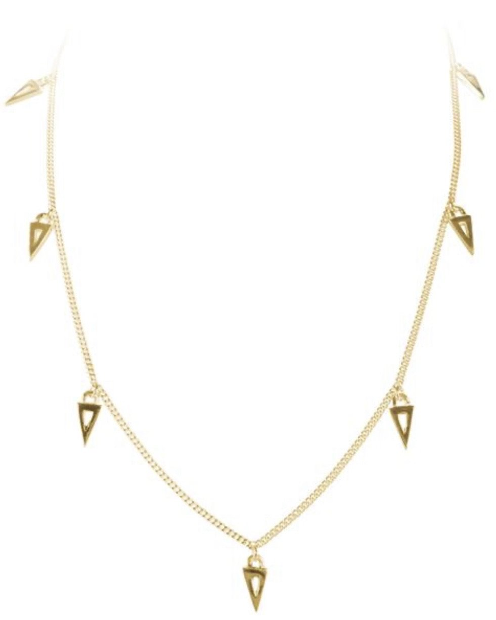 Gold Triangle Charm Necklace by Fairley