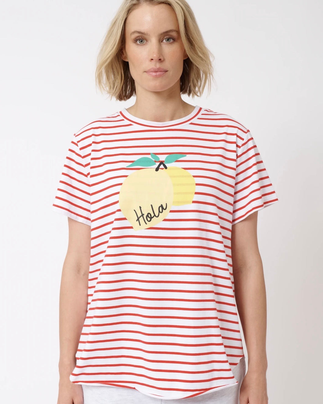 Hola Lemon Tee in White/Red by Alessandra