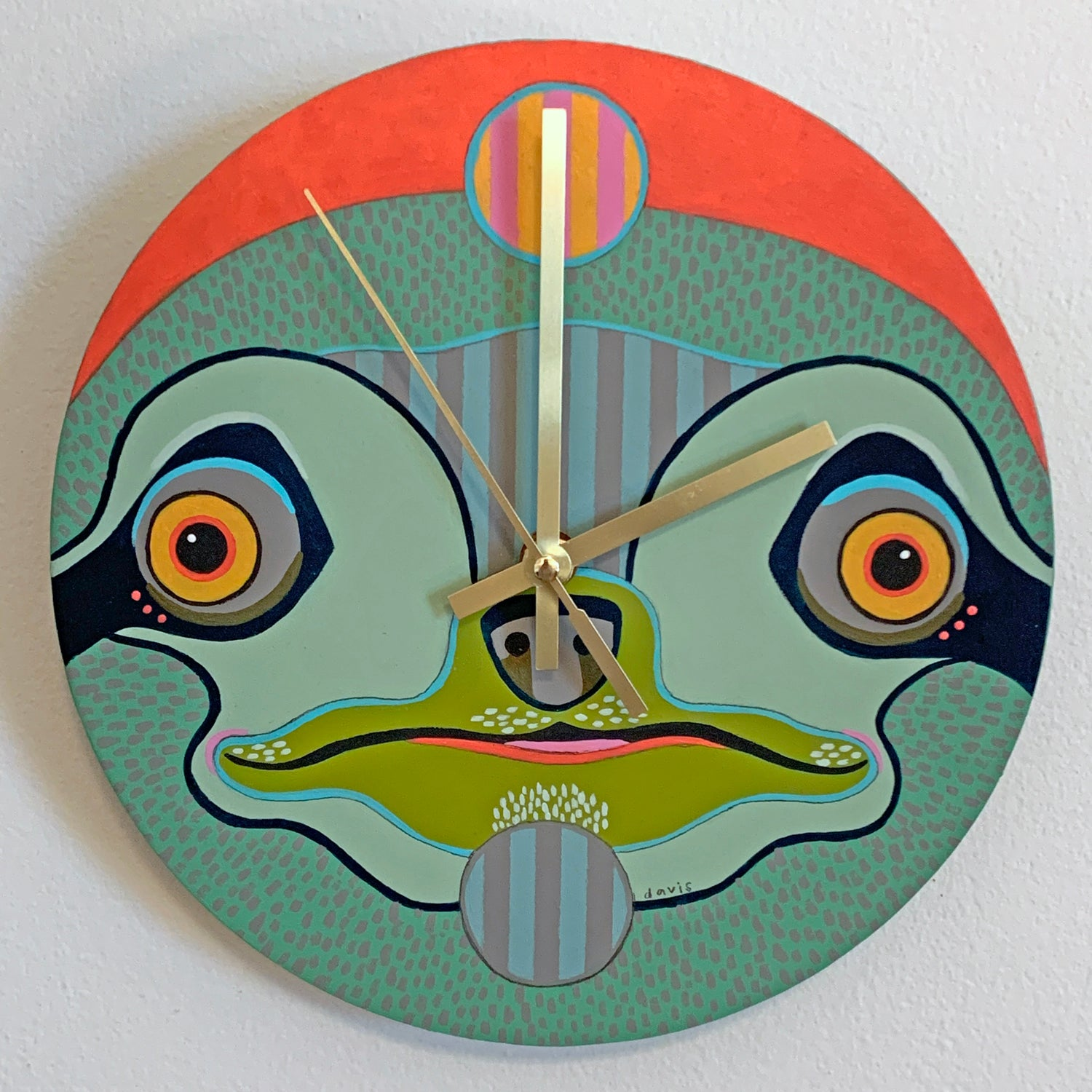 Green Sloth Clock by Jennifer Davis