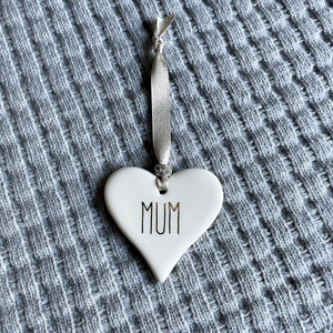 "Dimbleby Ceramics - ""Mum"" Ceramic Hanging Heart"
