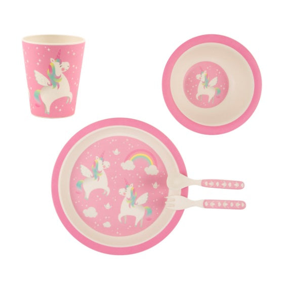 Sass & Belle Bambo Rainbow Unicorn Kids Tableware Set