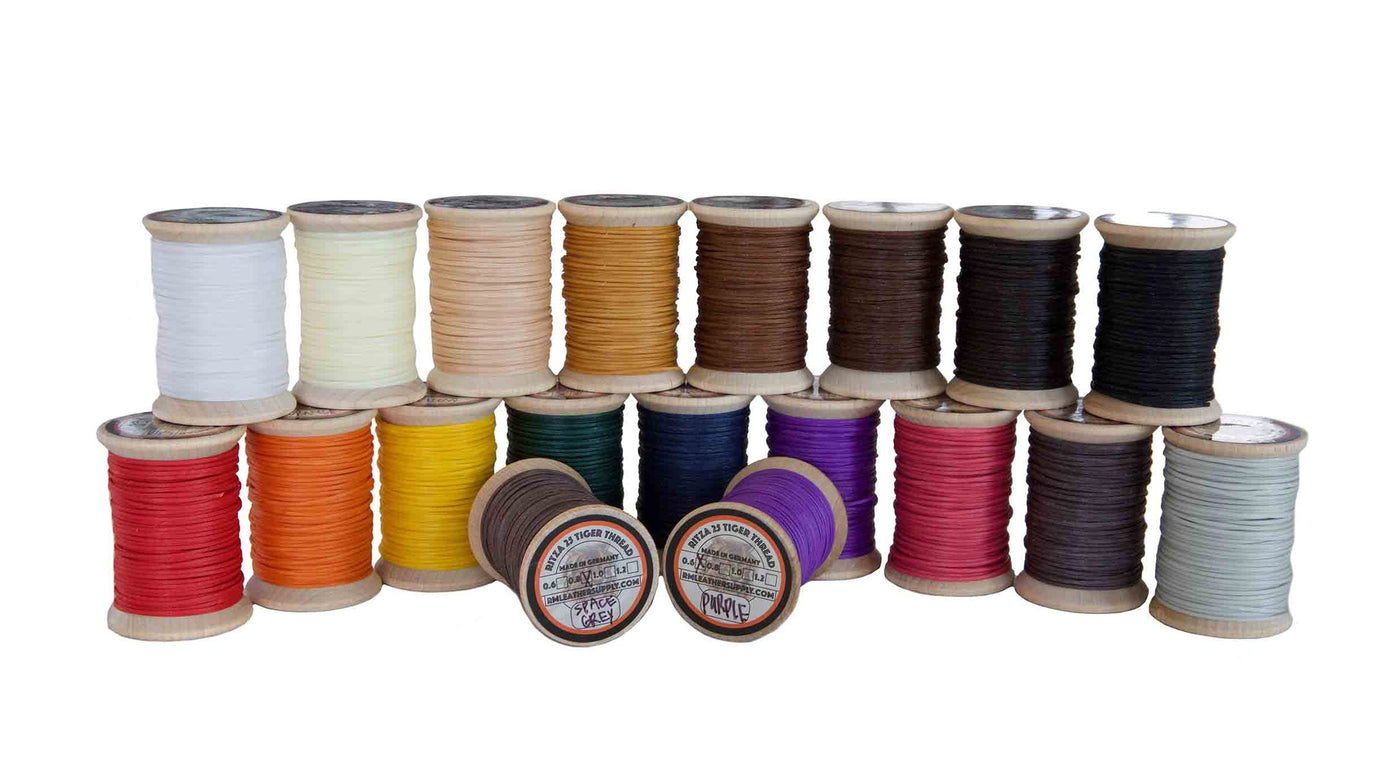 Ritza 25 Tiger Thread 1.2mm Wax Braided Polyester Leather Hand Sewing 25m//82ft