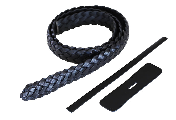 "Premium Braided Leather Belt Kit (Black Veg Tan) - 1.25"" (32mm)"
