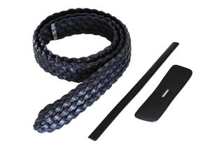 "Premium Braided Leather Belt Kit (Black Veg Tan) - 1.5"" (38mm)"