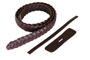 "Premium Braided Leather Belt Kit (Brown Veg Tan) - 1.25"" (32cm)"