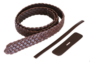"Premium Braided Leather Belt Kit (Brown Veg Tan) - 1.5"" (38cm)"