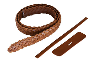 "Premium Braided Leather Belt Kit (Natural Veg Tan) - 1.25"" (32cm)"