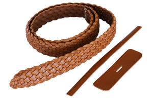 "Premium Braided Leather Belt Kit (Natural Veg Tan) - 1.5"" (38mm)"