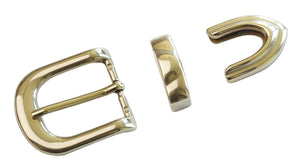 "Belt Buckles - Italian  ""Royale"" 3 Piece Set - Single Prong (Solid Brass)"