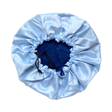 Adjustable Satin Bonnet - Navy/Light Blue