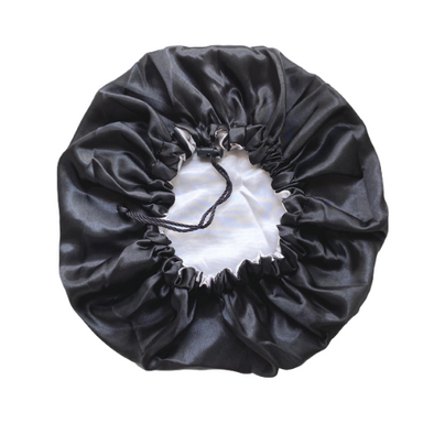Adjustable Satin Bonnet - Black/Silver