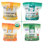 Sample Hay Pack - 15 oz Retail Packages of Timothy, Prairie, Orchard, and Alfalfa Hay