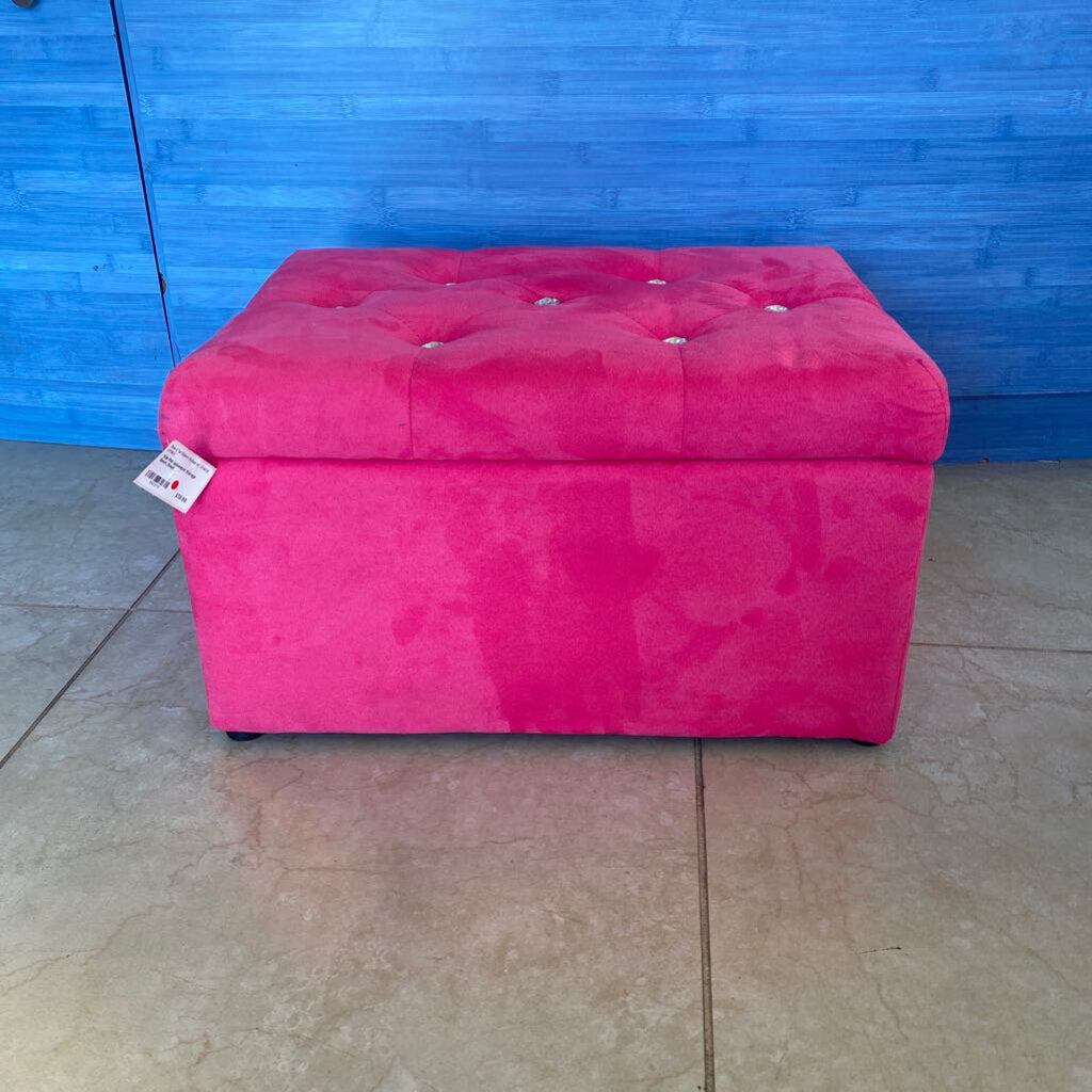 Kids Pink Upholstered Storage Bench (Small)
