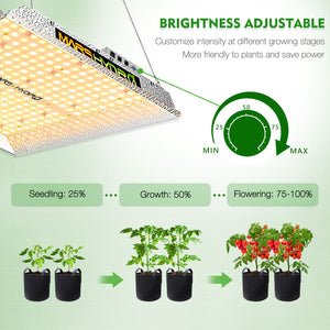 Mars Hydro TS 1000 Indoor Full Spectrum 150W 2ftx2ft 3ftx3ft coverage LED Grow Lights