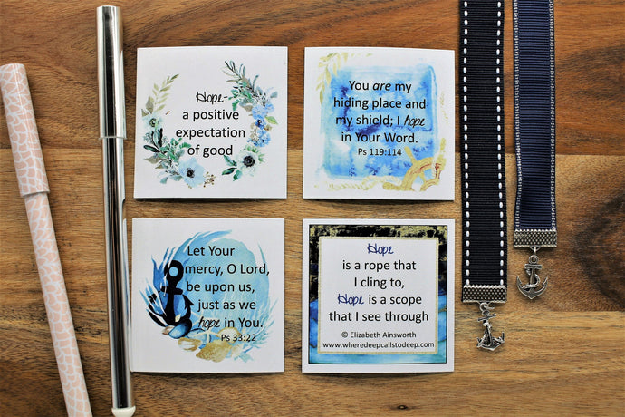 4 Hope Magnets and a navy blue grosgrain ribbon bookmark with anchor charm.   Let Your mercy, O Lord, be upon us, just as we hope in You. Psalm 33:22  You are my hiding place and my shield; I hope in Your Word. Psalm 119:114
