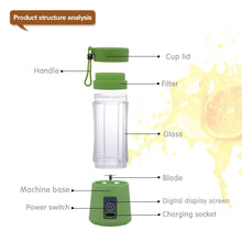Load image into Gallery viewer, Mini Portable Juicer USB Electric Fruit Juicer Handheld Smoothie Maker Blender Rechargeable Fruit Juicer Cup Food Proces