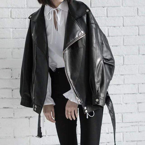 HIGH QUALITY SPRING BLACK PU LEATHER LOOSE TURN-DOWN WOMEN JACKET