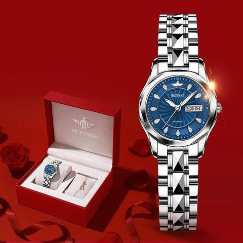 LADIES WRISTWATCHES LUXURY GOLD MECHANICAL WATCH SAPPHIRE CRYSTAL AUTOMATIC WATCH