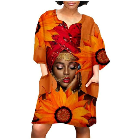 WOMEN'S AFRICAN STYLE DRESS MIDDLE SLEEVE V NECK CASUAL MINI DRESS PLUS SIZE