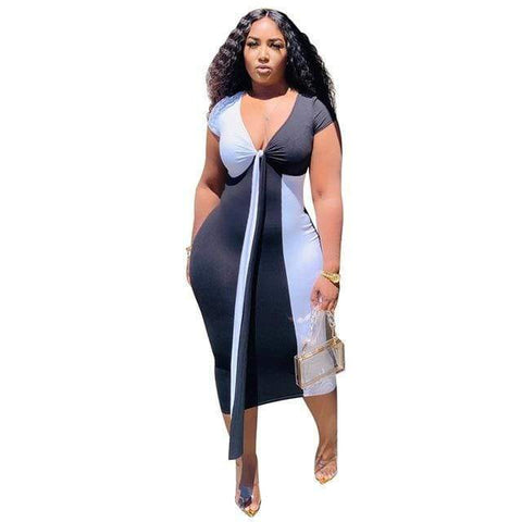 PLUS SIZE WOMEN DRESS NEW DESIGN FASHION TIGHT ELASTIC STITCHING V-NECK