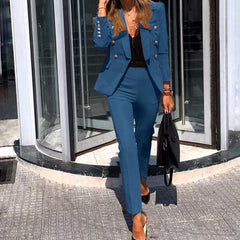 WOMEN JACKET BLAZER SUIT FASHION CASUAL LADIES SOLID COLOR TWO PIECE OFFICE WEAR