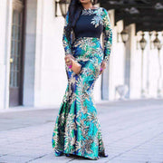 Women Clothing Online Store21  Vintage Green Long Sleeve Mermaid Sequins Dress Sparkly Elegant Plus Size Shiny Party Evening African Long Dresses for Women