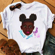 Women Clothing Online Store21  Y01219550 / S Afro Puff Hair Girl Print Melanin Poppin Shirt Women Summer 2021