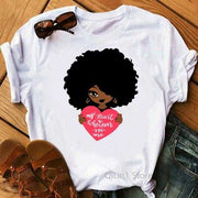 Women Clothing Online Store21  Y01219554 / M Afro Puff Hair Girl Print Melanin Poppin Shirt Women Summer 2021