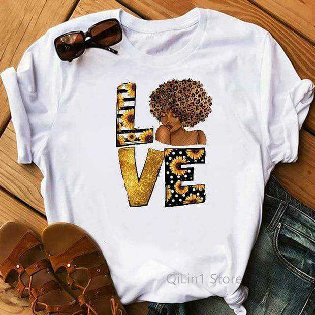 Women Clothing Online Store21  Y01219561 / L Afro Puff Hair Girl Print Melanin Poppin Shirt Women Summer 2021