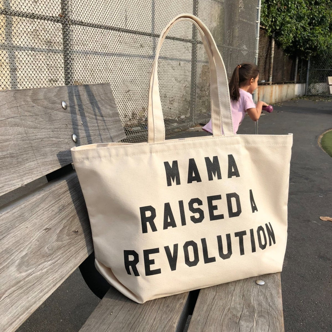 mama raised a revolution tote by rayo & honey
