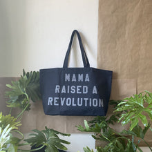 Load image into Gallery viewer, mama raised a revolution tote ~Black with reflective lettering ~ by rayo & honey