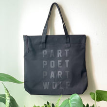 Load image into Gallery viewer, part poet part wolf black tote by rayo & honey