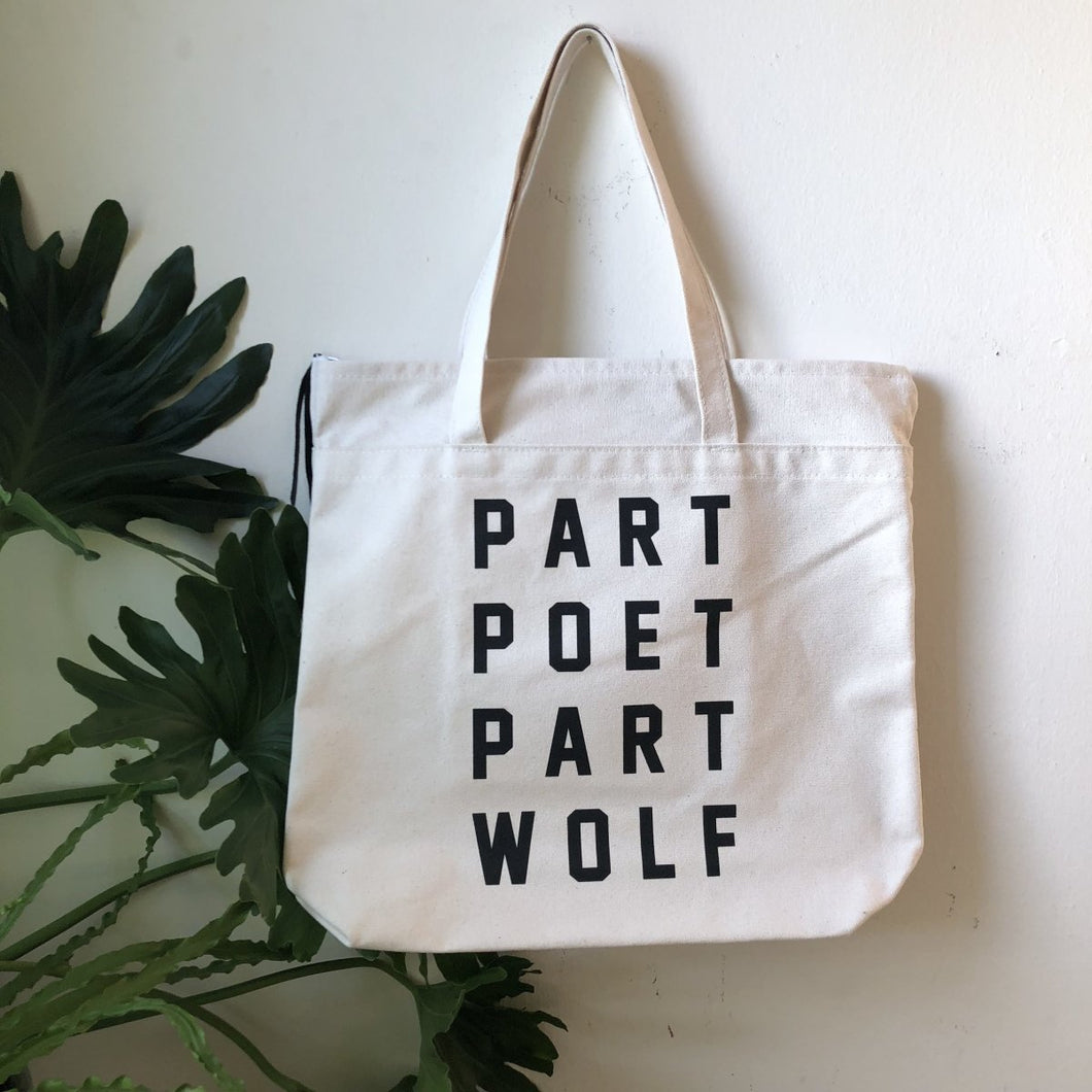 part poet part wolf tote by rayo & honey