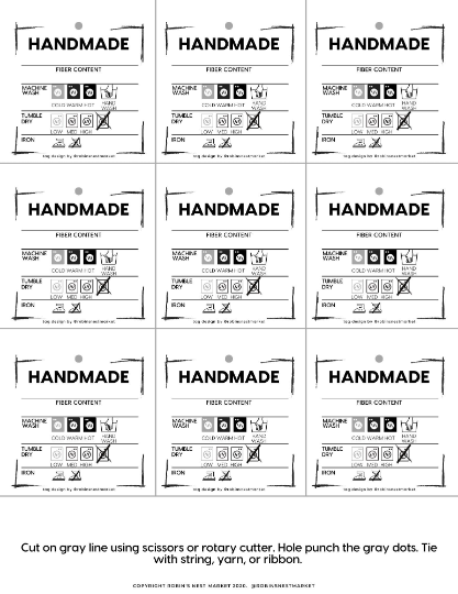PRINTABLE care tags | Downloadable PDF | handmade packaging care tags | gift tags labels market display DIY Packaging | instruction cards