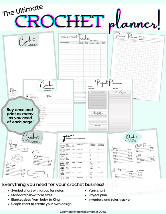 Crochet project notebook planner | pattern planner | sales tracker | inventory | notebook minimalist planner | yarn cards | printable PDF