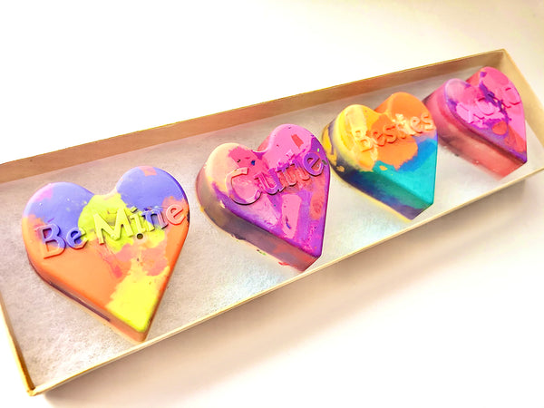 Valentine's Rainbow Heart Crayon Gift For Kids
