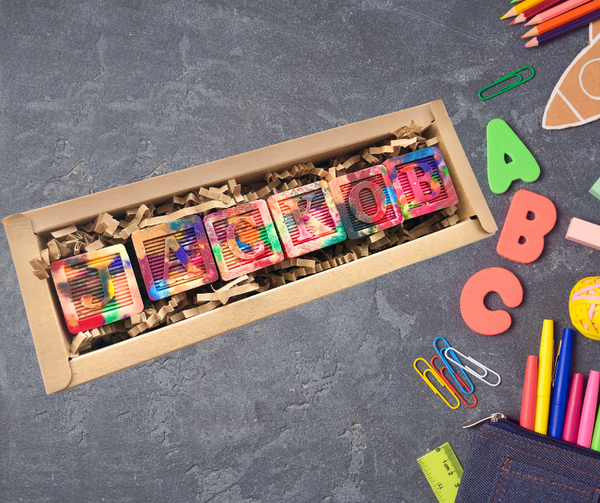 Crayon Letter Blocks Gift for Kids, Personalized Name Crayon Blocks, Stacking Crayon Blocks
