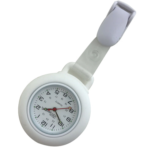 Clip-on Nurse Watch - Round White