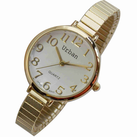 JAS  Watch - Metal Expansion Band - Narrow - Gold