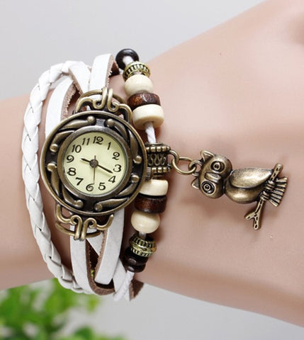JAS  Watch - Vintage Leather Band - Owl
