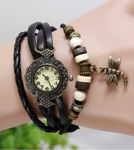 JAS  Watch - Vintage Leather Band - Dragonfly