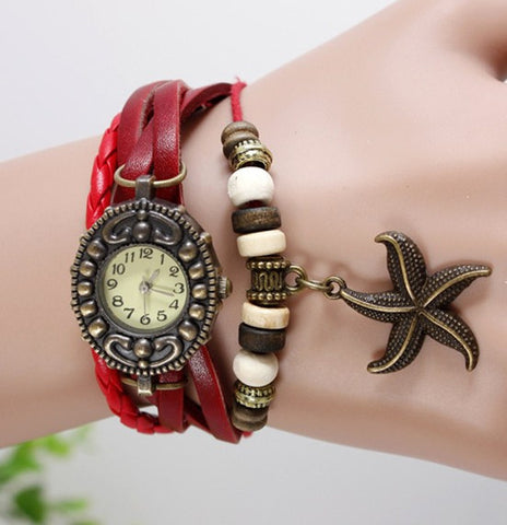 JAS  Watch - Vintage Leather Band - Starfish
