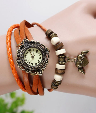 JAS  Watch - Vintage Leather Band - Heart