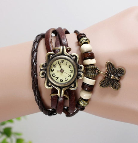 JAS  Watch - Vintage Leather Band - Butterfly