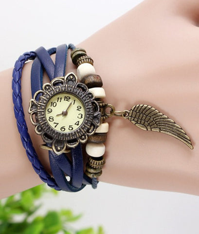 JAS  Watch - Vintage Leather Band - Feather