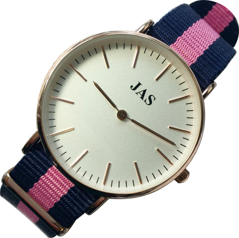 JAS Milan Watch - Blue & Pink Nylon Band - Rose Gold
