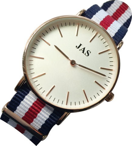 JAS Milan Watch - Red, White & Blue Nylon Band - Rose Gold