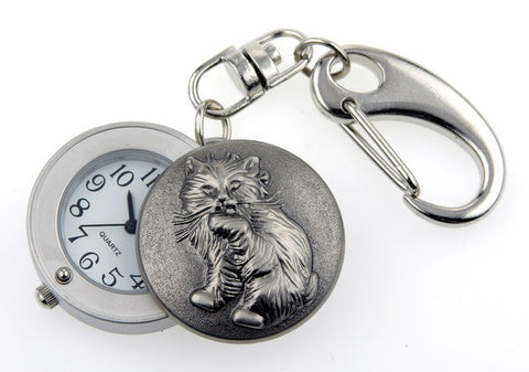 novelty fob watch - cat silver